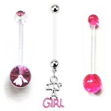 set 3 Pregnancy / Maternity Belly Navel Bars Bar Plastic PFTE IT'S A GIRL NEW