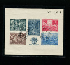 Spain 1939 Art Velasquez USED Imperf Souvenir Sheet  Edifil Bene. 35 RARE