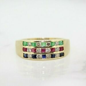 14ct Yellow Gold Ruby, Emerald, Sapphire and Diamond Cluster Ring Size N