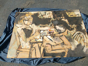 Sterling Strauser,Large Oil on Board,Art Lesson,Men&Women, Pennsylvania,Abstract