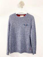 White Stuff mens size Large Pull Over Jumper Blue Long Sleeve Lambswool Nylon