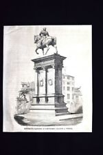 Bartolomeo Colleoni.Venezia+Fiera ai giardini pubblici,Milano Incisione del 1871