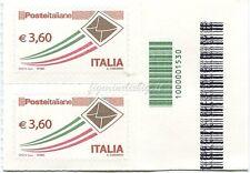 2013 coppiola Posta Italiana Ordinaria € 3,60 CODICE A BARRE 1530