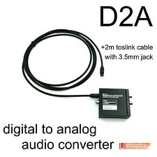 Digital to Analog Audio Converter+Toslink Cable Optical to L/R RCA w 3.5mm Jack