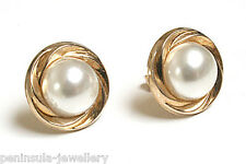 9ct Gold Pearl Studs earrings 12mm Button Made in UK Gift boxed