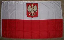 3'x5' Old Poland Eagle Flag Polish Crest White Outdoor Banner Polska Pennant 3X5