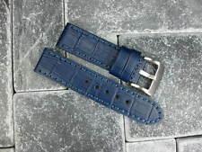 BIG CROCO 24mm LEATHER STRAP Blue Stitch Watch Band Super Avenger BLUE 24