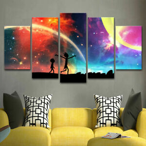 Rick And Morty Poster Awesome Anime Canvas Prints Painting Wall Art Poster 5PCS
