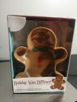 Holiday Gingerbread Cookie Wax Diffuser Set Ceramic Dish/Stand/Scented Melts NEW