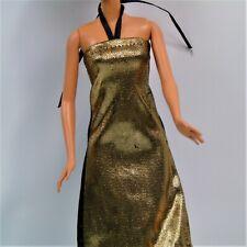 Vintage Barbie Pencil Dress Party Gold Black Neck Tie