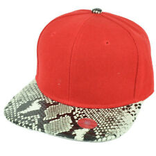 Red Blank Plain Solid Panel Faux Snake Skin Flat Visor Snapback Hat Cap Animal