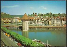 AD3800 Switzerland - Lucerne - Chapel Bridge, old Town Hall, Mussegg Towers