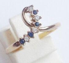 bague fiançailles rétro couleur or rhodié boucle cristaux bleu et diamant T.56