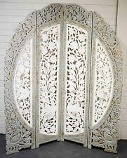 Vintage Indian Screen Hand Carved  Shabby Chic Round Timber Room Divider