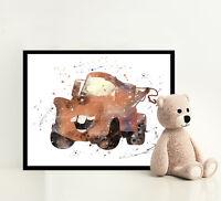 CARS Disney Print Poster Watercolor Framed Canvas Wall Art Nursery Pixar