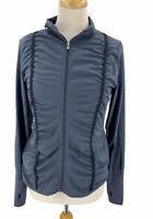 Lija Women's Light Weight Ruched Full Zip Jacket Gray Size Medium
