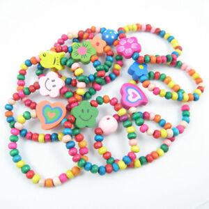 24x Mix Children Wood Elastic Bead Bracelets Kids Party Bag Fillers Jewelry Lots