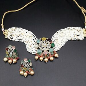 Pakistani Indian Kundan Choker Necklace Earring Bollywood CZ Pearl Jewelry Sets