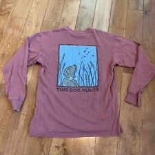 "Mens Southern Proper Cotton Rust Red Long Sleeve T Shirt ""This Dog Hunts"" Sz S"