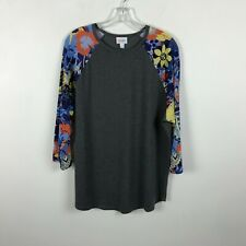 LuLaRoe Multicolor Floral Raglan Sleeve T-Shirt Long Sleeves Stretch Size 2XL