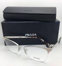New PRADA Eyeglasses VPR 65Q UAO-1O1 53-17 Semi-Rimless Tan & Silver Frames