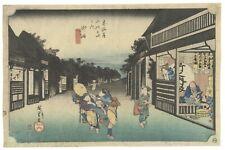 Original Japanese Woodblock Print, Hiroshige, Landscape, Tokaido, Series,Ukiyo-e