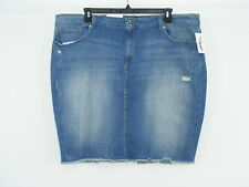 JESSICA SIMPSON Jean Skirt Blue Denim STRETCH Distress Back Slit NWT Sz 24W -W46