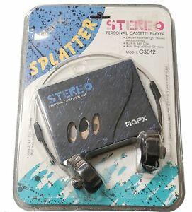 Gran Prix GPX Stereo Cassette Player C3012 Vtg Splatter Blue Belt clip