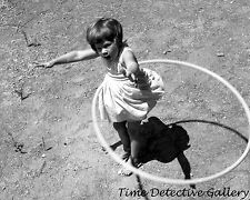 Little Girl Twirling a Hula Hoop - 1958 - Vintage Photo Print