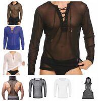Men's Long Sleeve Fishnet Mesh T-shirt Top Blouse Clubwear Costumes Undershirts
