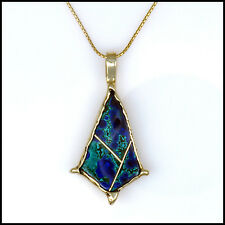 Unique Custom 14kt Yellow Gold Azurite Azurmalachite Inlay Pendant Neckpiece