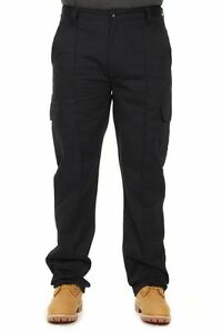 Mens Cargo Combat Cotton or Polycotton Trousers Jeans Black G-Tuff by Alexanders