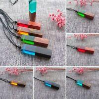 Random Chic Resin Wood Pendant Handmade Necklace Wooden Jewelry Men Women NEW