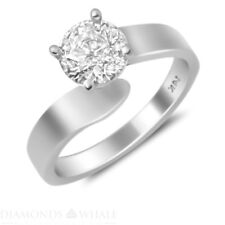 Round Cut Si1/D 18K Gold Ring 1.02 Ct Enhanced Engagement Bridal Diamond Ring
