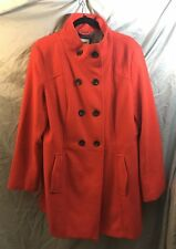 Old Navy Mid Length Trench Coat XL Orange Double Breasted Pockets Fully Lined
