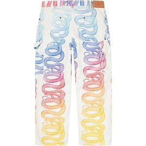 SUPREME Hysteric Glamour Multi Colored Snake Double Knee Denim White 30 Waist