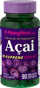 Piping Rock Triple Strength Acai Supreme 3000 mg - 90 Quick Release Capsules