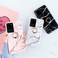 For Samsung S20 Plus Ultra A51 A71 Ring Holder Marble Silicone Soft Case Cover
