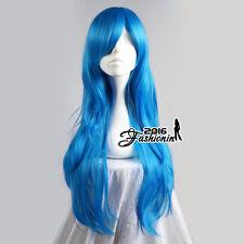70CM Royal Blue Lolita Long Wavy Party Women Hair Cosplay Wig Heat Resistant