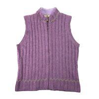 Woolrich 13645 Womens Sweater Vest Purple Sage Heather Full Zip Wool Blend Sz L