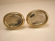 -Horses Profile Engraved Glass Vintage HICKOK USA Cuff Links