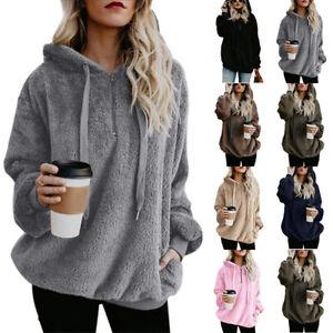 Womens Winter Fluffy Coat Fleece Fur Jumper Teddy Bear Hoodies Pullover Top