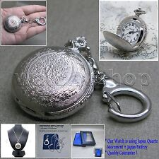 Silver Antique Pocket Pendant Watch Women Gift 2 Ways - Necklace + Key Chain L30