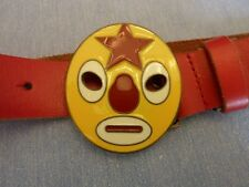 Boys Leather Red Enamel Buckle Belt & Matching Hat Monster Face EUC