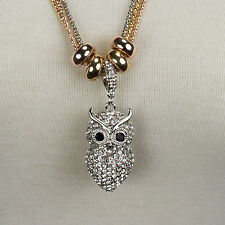 Kette Anhänger Eule Owl  Necklace Silber Gold Strass lang