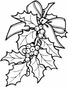 Christmas - Holly - Ribbon Unmounted Clear Stamp Approx 47x60mm