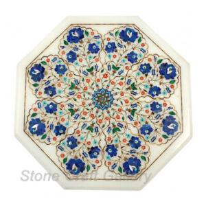 "21"" Marble Coffee Table Semi Precious Stones Work floral Lapis Inlay"