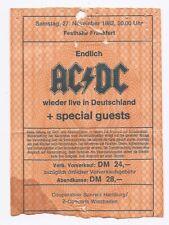 AC/DC    In Concert 1982   altes Ticket, Konzertkarte, Eintrittskarte