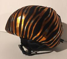Ski & Sport Helmet cover by Shellskin. Orang/Blk/Silv Zebra print Spandex.1 Size