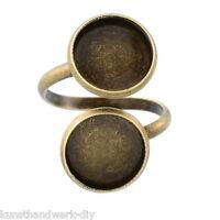 KUS 5 Fassungen Ringe Rohlinge für Cabochons 12mm Einstellbar Bronzefarbe